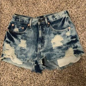 Distressed high waisted jean shorts F21